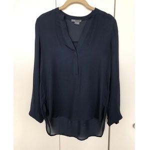 Vince navy silk blouse